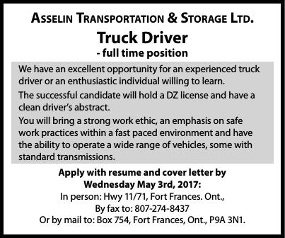 truck driver asselin transportation anokiiwin job connect