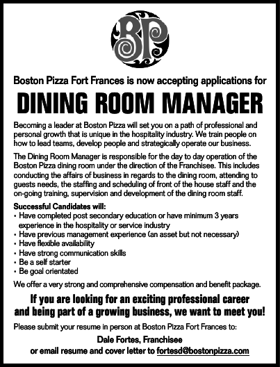 Dining Room Manager Boston Pizza Anokiiwin Job Connect