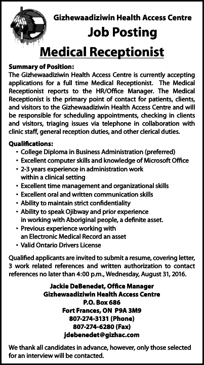 Medical Receptionist Anokiiwin Job Connect